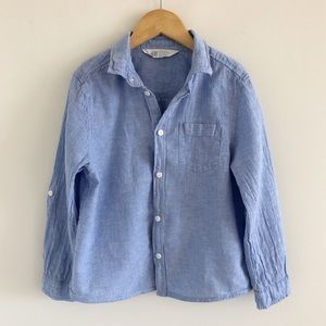 Boys' H&M Blue Button-Down Shirt Size 7-8Y